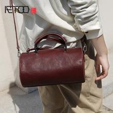 AETOO Handmade one-shoulder oblique back handbag, lady plastic stylish tanning cowhide small retro cylinder bag