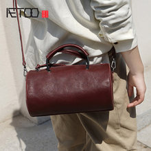 AETOO Handmade one-shoulder oblique back handbag, lady plastic stylish tanning cowhide small retro cylinder bag(China)