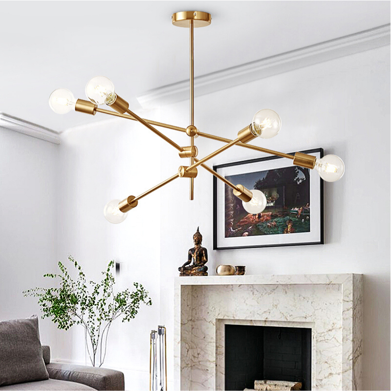 Magic Bean Molecular Chandelier Lights Rotatable Adjustment Luxury Brass Color Living Dining Room Bedroom Ins Wind Lamps