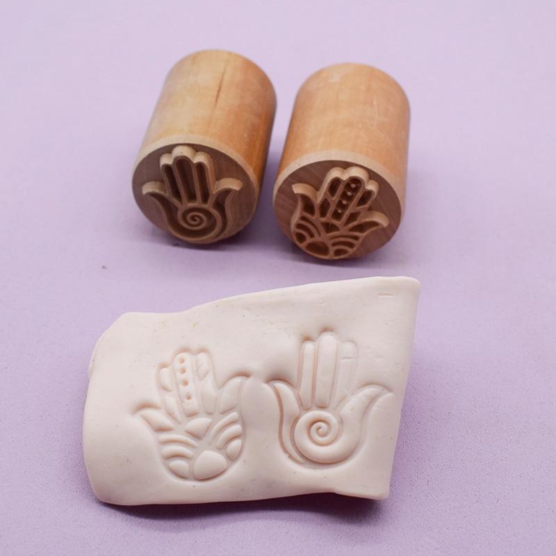 Nova ferramenta de cerâmica fátima sorte mão textura bloco impressão emboss esculpida madeira argila selo argil ferramentas para cerâmica 3.5cm redondo