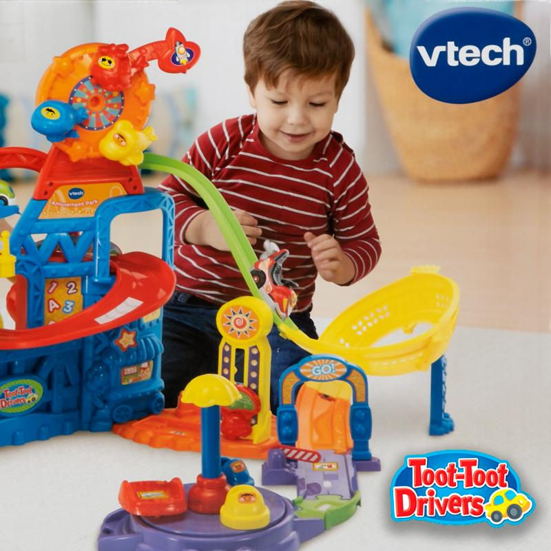 Toot-Toot Drivers Amusement Park Imaginative Motor Play Set Race Down The Track Toys Ride Roll Tumble At The Toot-Toot Driver