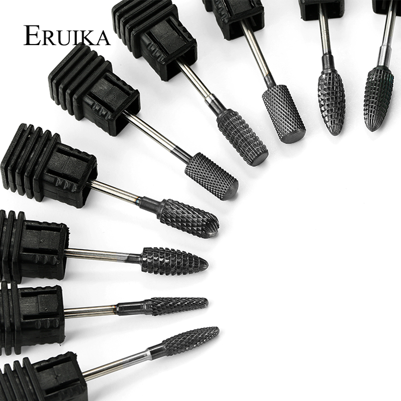 ERUIKA 9 Type Carbide Nail Drill Bit Black Titanium Coated Machine For Manicure Apparatus Accessories Milling Cutter Nail Tools