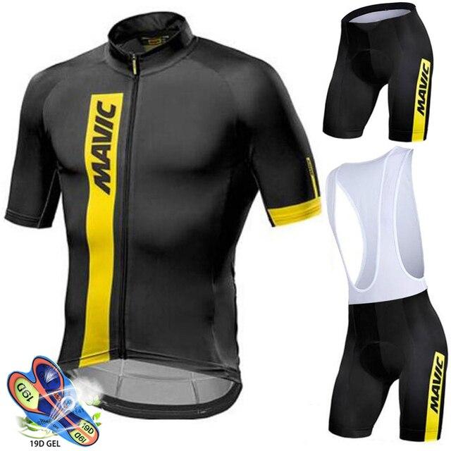 Camisa de ciclismo 2020 pro equipe mavic ropa ciclismo hombre verão manga curta jerseys roupas ciclismo triathlon bib shorts terno 2