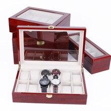 2/3/5/6/10/12 Grids Wooden Watch Box Jewelry Box Display Watch Case Holder Organizer for Watches Men  Valentine's Day Gift