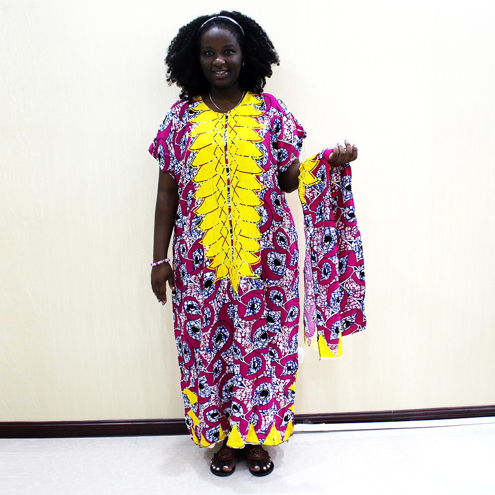 2019 New Fashion African Dashiki Casual Short Sleeve Print Long Dress For Ladies