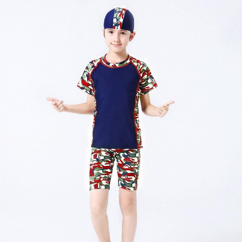 Korean-style Cartoon New Style BOY'S Swimsuit Children Big Kid Swimming Cap Long Sleeve Boxers Split Type Swimwear Hot Springs P