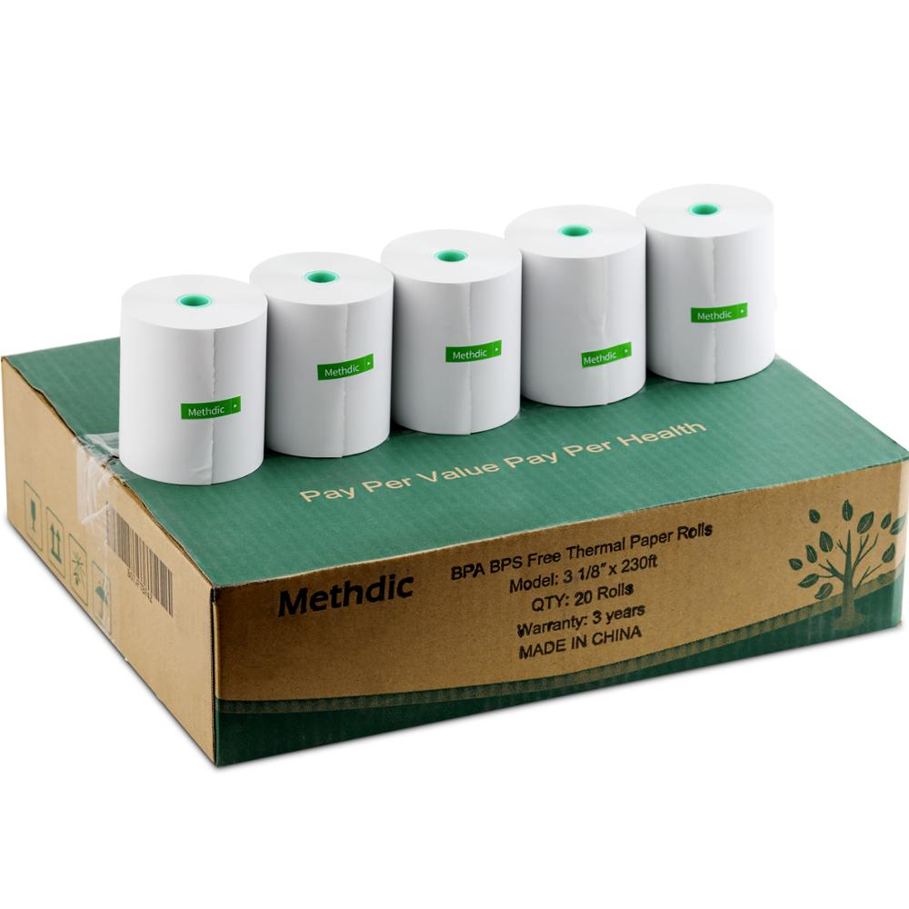 Methdic BPA-free Thermal Paper Roll 80mm X 70meter Cash Register Till Roll 20-Rolls(3 1/8 X 230)