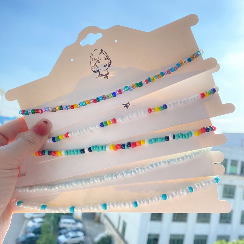 DAXI New Boho Beads Choker Necklace For Women Girls Colorful Strand Short Choker Necklaces Summer Fashion Jewelry Gift Wholesale