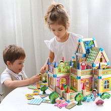 Creative 2020 New Arrival 128/268pcs DIY Wooden House Building Block with Furniture Assemble Toys For Children ,Adult(China)