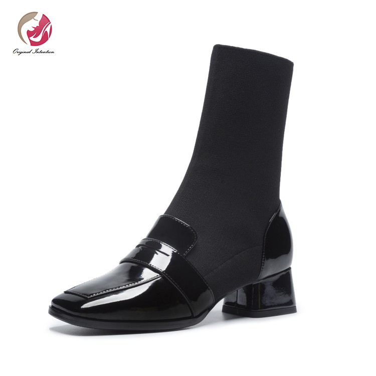 Original Intention Elegant Concise Square Heel Ankle Boots Woman Stretch Boots Patent Real Leather Square Toe Lady Sock Shoes|Ankle Boots| |  - title=