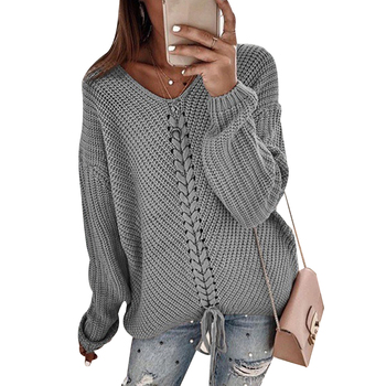 Knitted Sweaters Jumper Women Pullovers Bandage V-Neck Oversize Knitting Tops Autumn Winter Solid Color Female Basic Sweater D40 casual basic turtleneck sweater women knitted pullovers ladies solid sweater jumpers autumn female knitting tops jk153