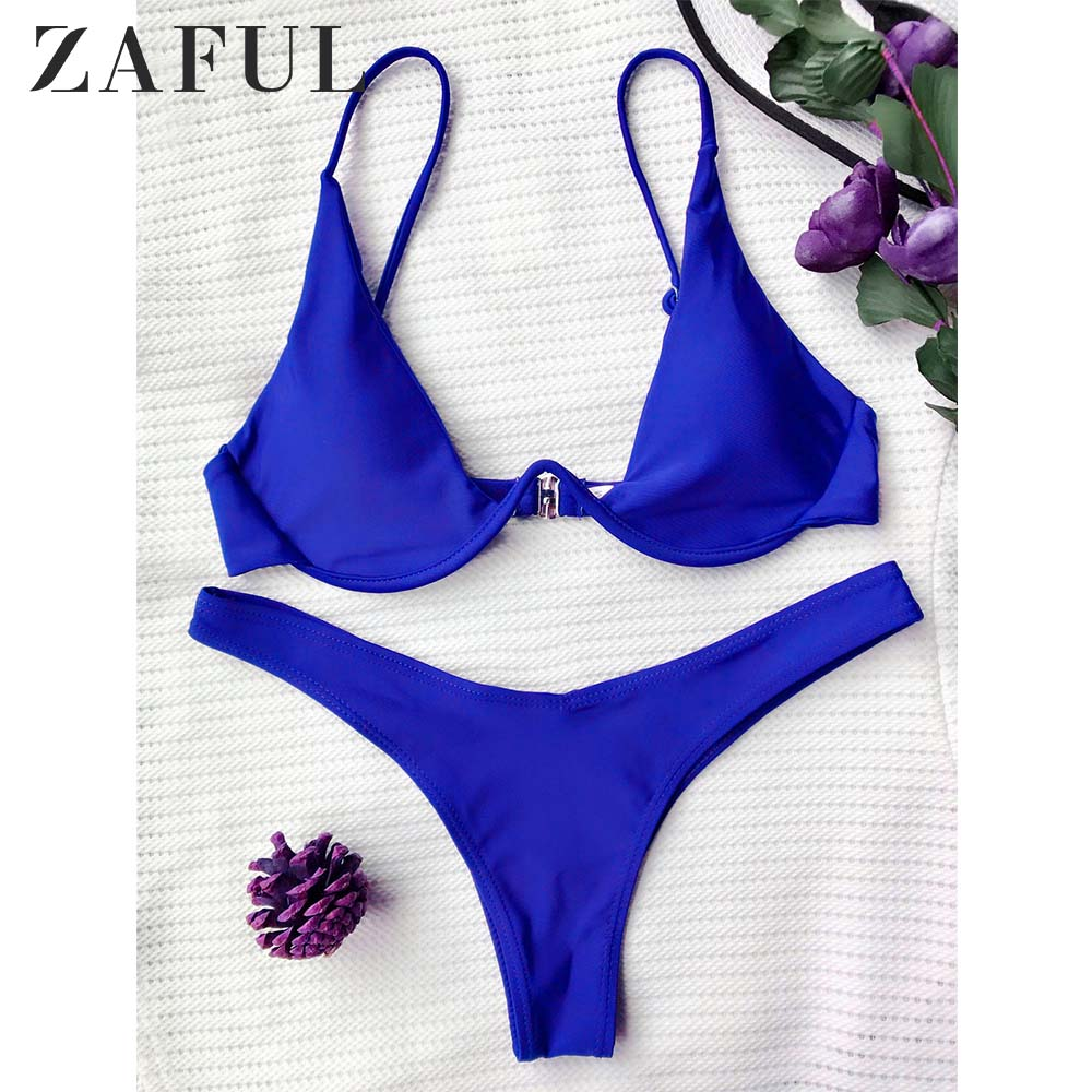 ZAFUL Underwired Plunge Bathing Suit Spaghetti Straps Low Waisted Women Swim Sets Beach Vacation Solid Two Pieces Sets Underwire