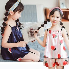 Kids Home Clothes Silk Suit New Girls Pajamas in Summer random printed pajamas suit in camel