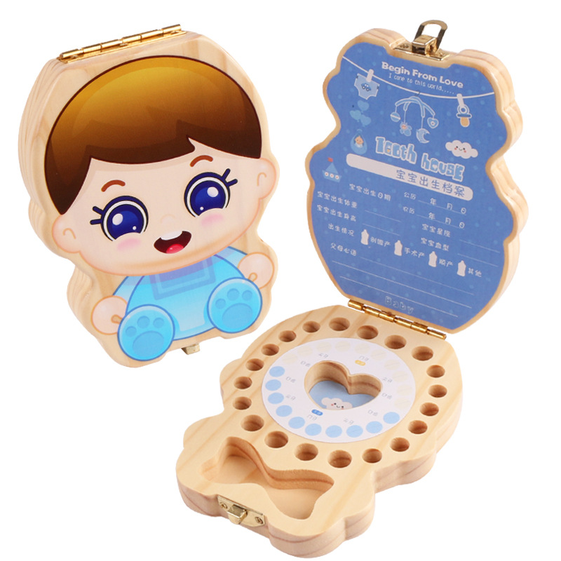 Children's Wooden Baby Teeth Box (Baby Theme) Fetal Hair Tooth Collection Box Gift First Tooth Collection Memorial Box