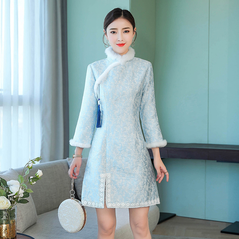 2020 Chinese Dress Traditional Clothing Thick Wool Cheongsam Warm Improved Womens Sexy Long Sleeve Qipao Dress Plus