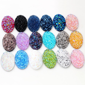 New Fashion 10pcs 18x25mm Mixed Colors Natural ore Style Flat back Resin Cabochons For Bracelet Earrings accessories(China)