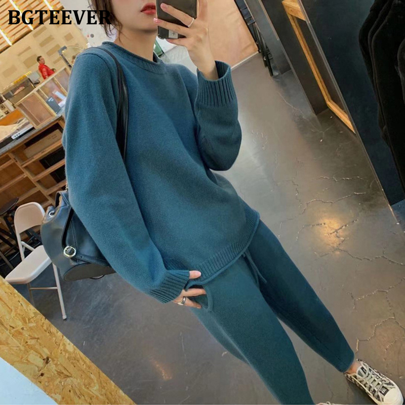 BGTEEVER Winter Sweater Set Women O-neck Jumpers & Pencil Pant 2019 Female Knitted 2 Pieces Set Casual Solid Sweater Tracksuit