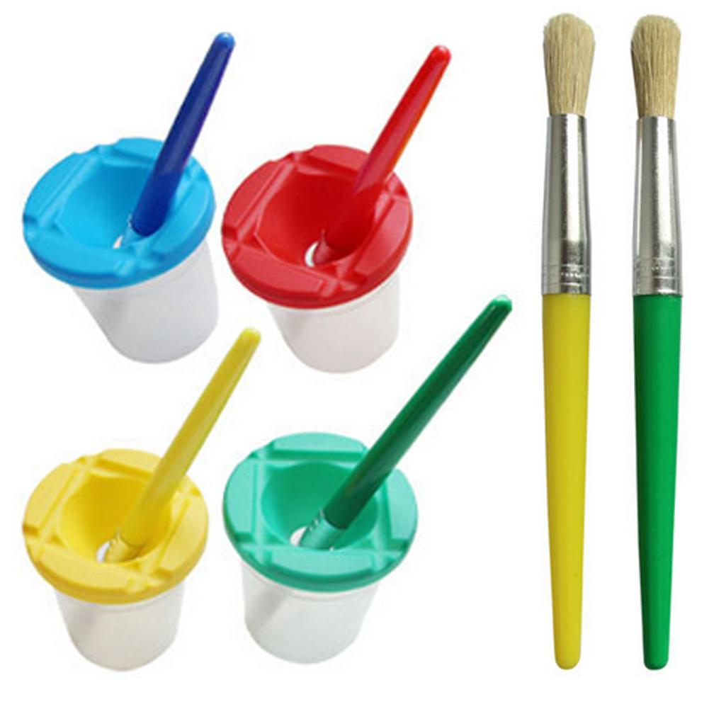 4PCS Paint Brush+4PC Washing Bucket For Children Kids Watercolor Oil Gouache Acrylic Painting Bristle Brushes Art Supply