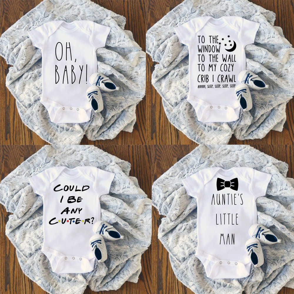 Summer Newborn Funny Letter Printed Jumpsuit Baby Casual Bodysuit Rompers 0-24M