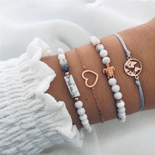 Wholesale 4pcs/set Natural Stone Beads Charm Chain Bracelets For Women Geometric Map Heart Tortoise Bracelet Set Boho Jewelry stylish heart geometric bracelet for women