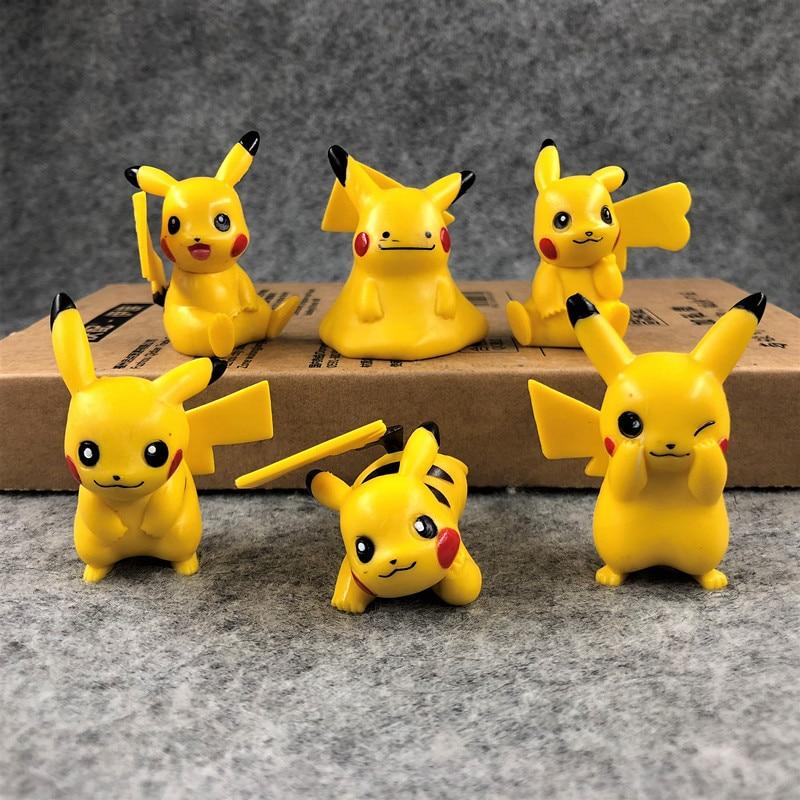 TAKARA TOMY 6pcs/set Pokemon pikachu anime action & toy figures model toys for children