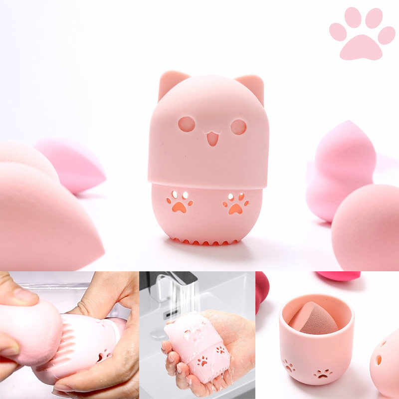 子猫美容パウダーパフ防塵ホルダースポンジメイク卵乾燥ケースポータブルソフトシリコーン化粧品ベーススポンジボックスホルダー