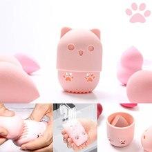 Kitten Beauty Powder Puff soporte a prueba de polvo esponja maquillaje huevo funda de secado portátil de silicona suave Base cosmética caja de esponjas soporte