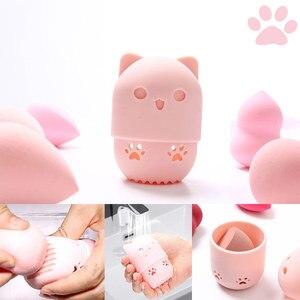 Image 1 - Yavru güzellik tozu puf toz geçirmez tutucu sünger makyaj yumurta kurutma çantası taşınabilir yumuşak silikon kozmetik taban sünger kutu tutucu