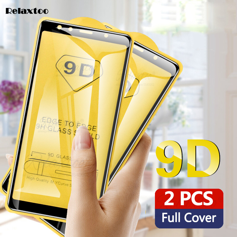 2pcs 9D Full Glue Tempered Glass For Samsung Galaxy A5 A7 2017 A9 A6 A8 Plus 2018 screen protector Protective film on a 5 6 7 8