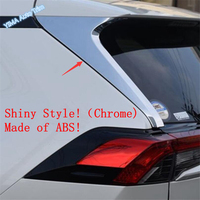 Lapetus Auto Styling Rear Door Tail Spoilers Window Wing Cover Trim Fit For TOYOTA RAV4 RAV 4 2019 2020 ABS Chrome Carbon Fiber