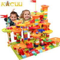 74-296 Uds. Bloque de carrera de mármol Compatible LegoINGlys Duploed Building bloques embudo Slide bloques DIY ladrillos juguetes para niños