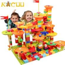 Blocchi da corsa in marmo di grandi dimensioni compatibili Duploed Building Blocks imbuto in plastica scivolo assemblaggio fai da te mattoni giocattoli per bambini