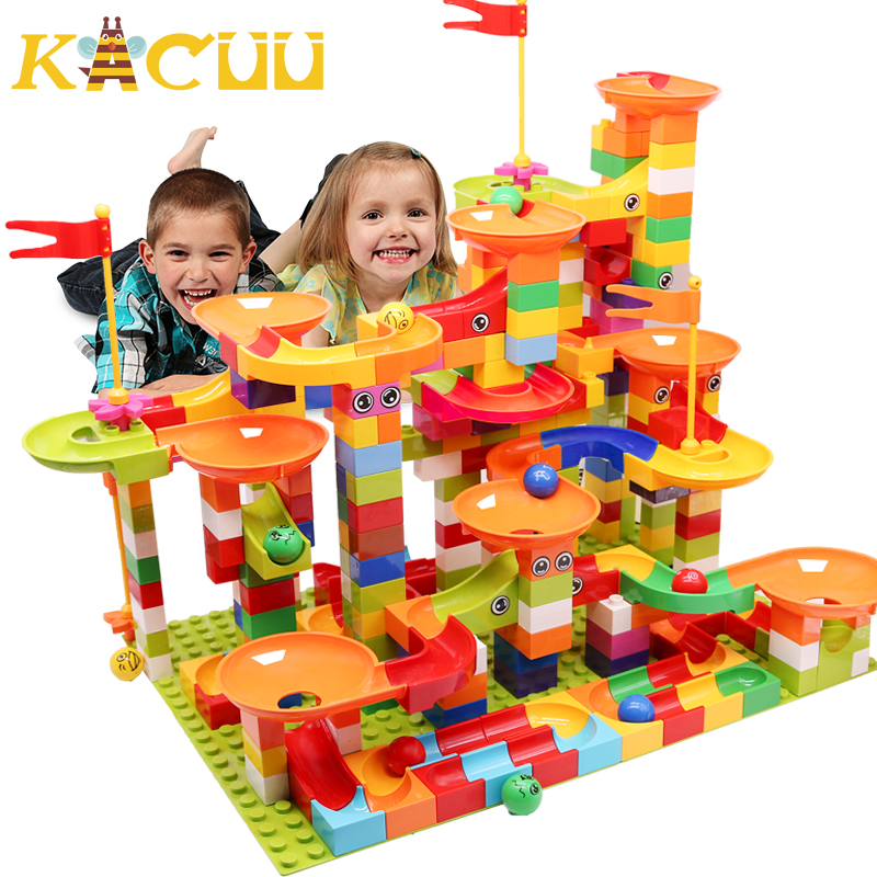 Marble Race Run Block Big Size Compatible Duploed Building Blocks Plastic Funnel Slide DIY Assembly Bricks Toys For Children
