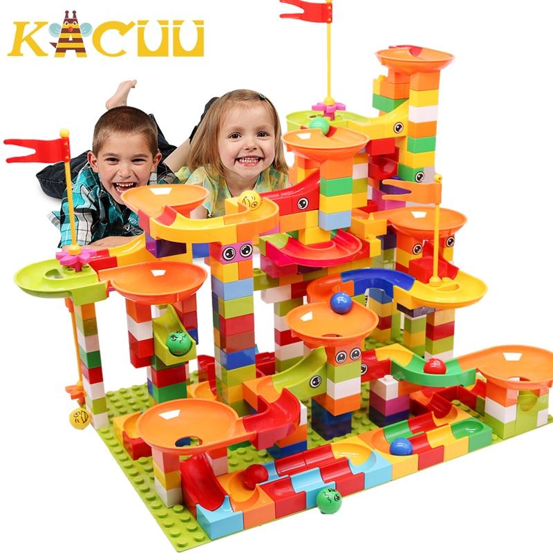 Marble Race Run Block Big Size Compatible Duploed Building Blocks Plastic Funnel Slide DIY Assembly Bricks Toys For Children(China)