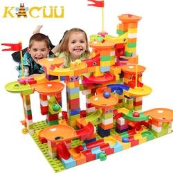 Marmurowy blok wyścigowy duży rozmiar kompatybilny Duploed klocki plastikowy lejek slajdów DIY montaż cegieł zabawki dla dzieci