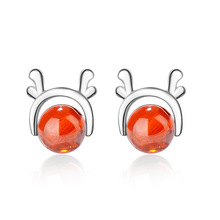Trendy Christmas Deer Elk Animal Garnet Stone 925 Sterling Silver Lady Stud Earrings Jewelry Women Drop Shipping Gift Cheap