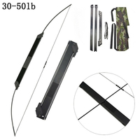 30-50 LBS Archery Folding Takedown Bow Toy Straight Pull Recurve Longbow Portable for Hunting Shooting Outdoor Games