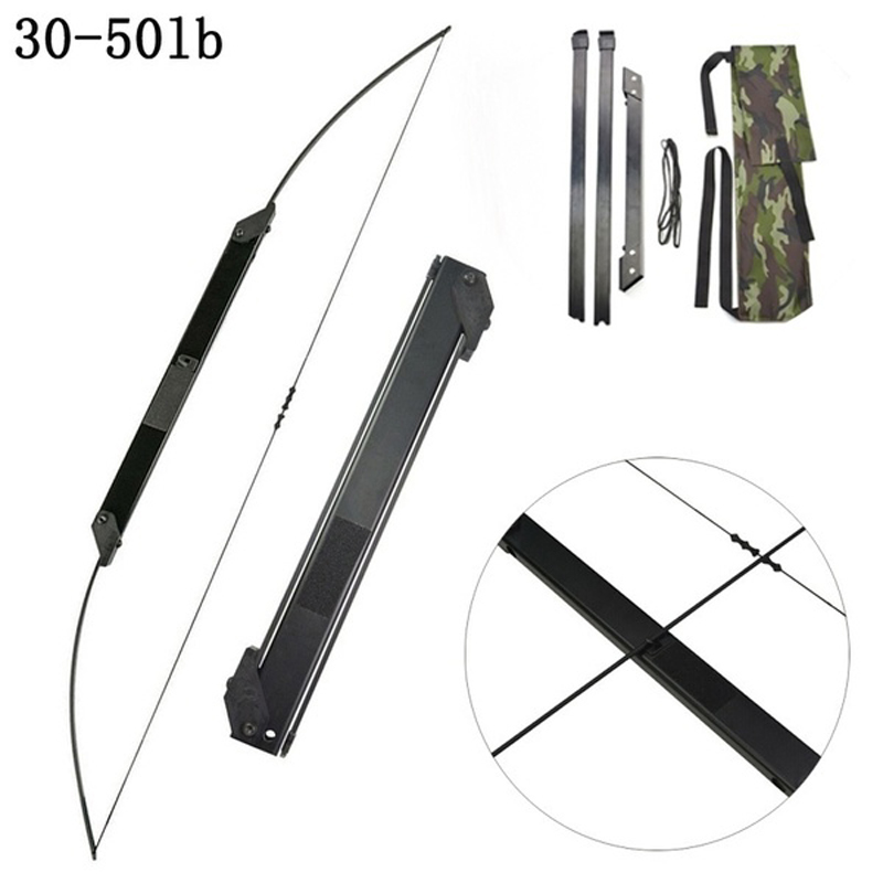 30-50 LBS Archery Folding Takedown Bow Toy Straight Pull Recurve Longbow Portable for Hunting Shooting Outdoor Games image