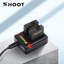 SHOOT cargador de batería de doble/Triple puerto con batería de 1220mAh para cámara negra GoPro Hero 8 7 6 5, accesorio cambiador