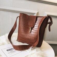 Vintage Female Bucket bag 2019 New Quality PU Leather Womens Designer Handbag Alligator Shoulder Messenger Bag