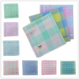 Handkerchief Towels Scarf Square Light-Color Retro Cotton Plaid Ladies Home-Textile Polyester