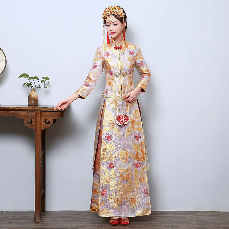 In 2020 The New Xiuhe Toast Longfeng Existing Chinese Style Wedding Dress Cultivate Morality Under Qipao Dress