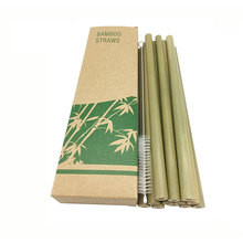 12pcs/set Bamboo Drinking Straws Reusable Eco-Friendly Party Kitchen + Clean Brush for Gift Bar Accessories DropShipping x