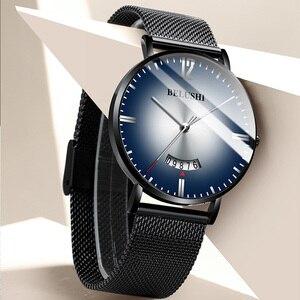 Image 3 - 2019 marca superior belushi relógios gradiente cor dos homens à prova dwaterproof água relógios pulseira de couro fino quartzo casual negócios relógio de pulso