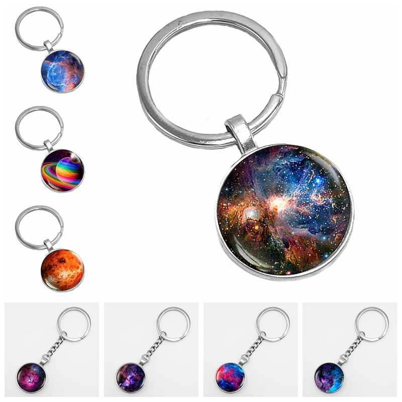 2019 New Dream Nice Nebula Keychain Galaxy Space Pattern Glass Convex Round Key Chain Solar System Popular Accessories Gifts