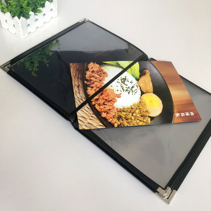 Menu Book A5 Recipe Menu Clip Price List PU Leather