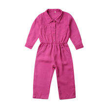 Baby Girls Clothes Toddler Kids Blank Rose Red Romper Baby Girl Clothes Jumpsuit Romper Button Long Sleeve Playsuit Outfit 2018 baby girls clothes baby romper toddler infant baby girl cartoon pig love print long sleeve jumpsuit romper clothes jy24 f