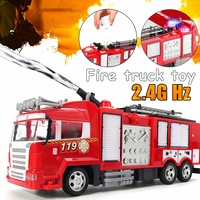 Spray Water Truck Toy Fireman Electric Fire Truck Car Music Light Educational Toys Boy Kids Toy Gift With Remote Control