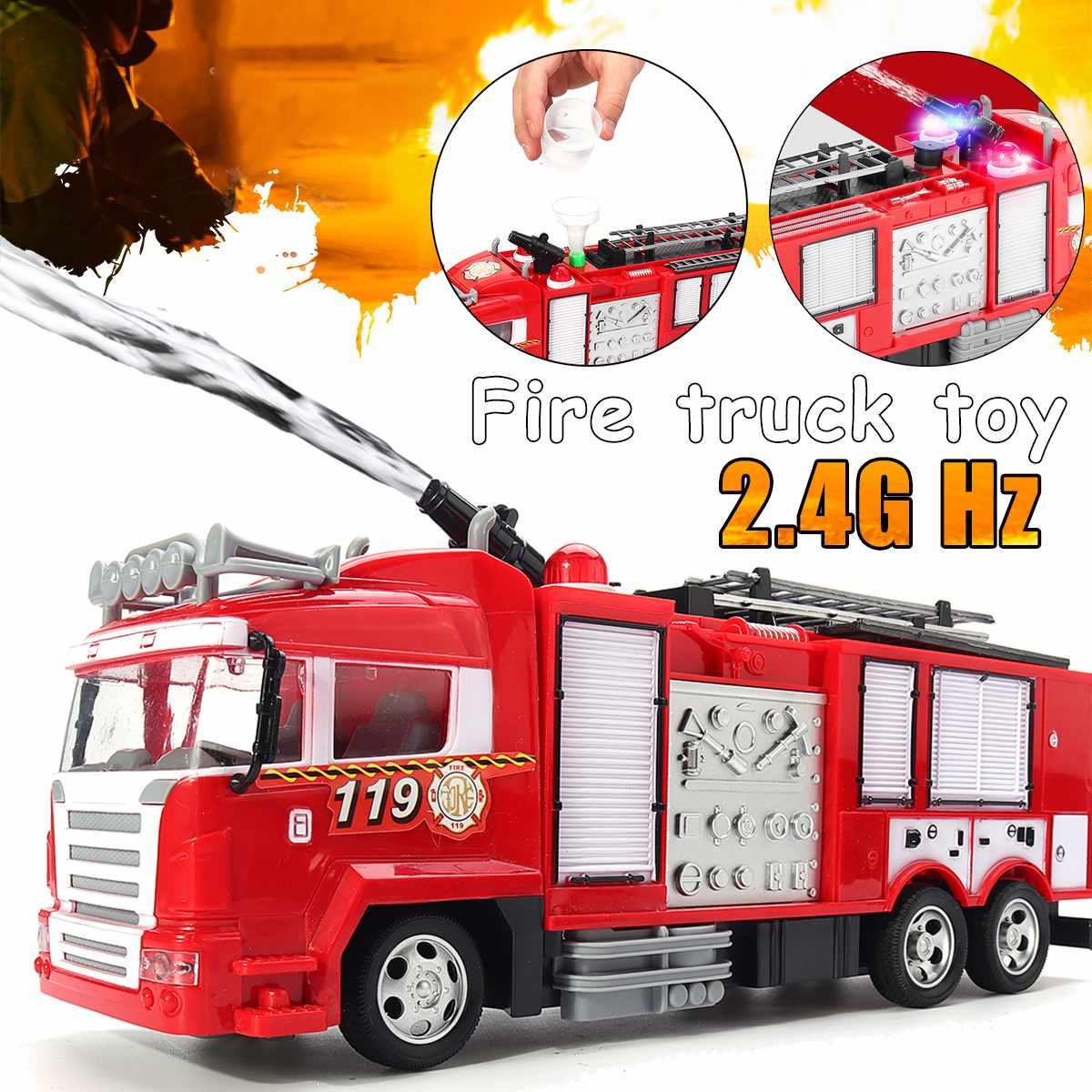 Spray de água caminhão brinquedo bombeiro caminhão de bombeiros elétrico carro música luz brinquedos educativos menino crianças brinquedo presente com controle remoto