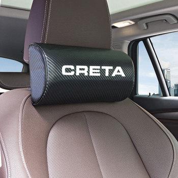 1 sztuk zestaw samochodów z włókna węglowego Logo zagłówek dla hyundai Creta obustronnie pu skórzana poduszka pod szyję do samochodu tanie i dobre opinie